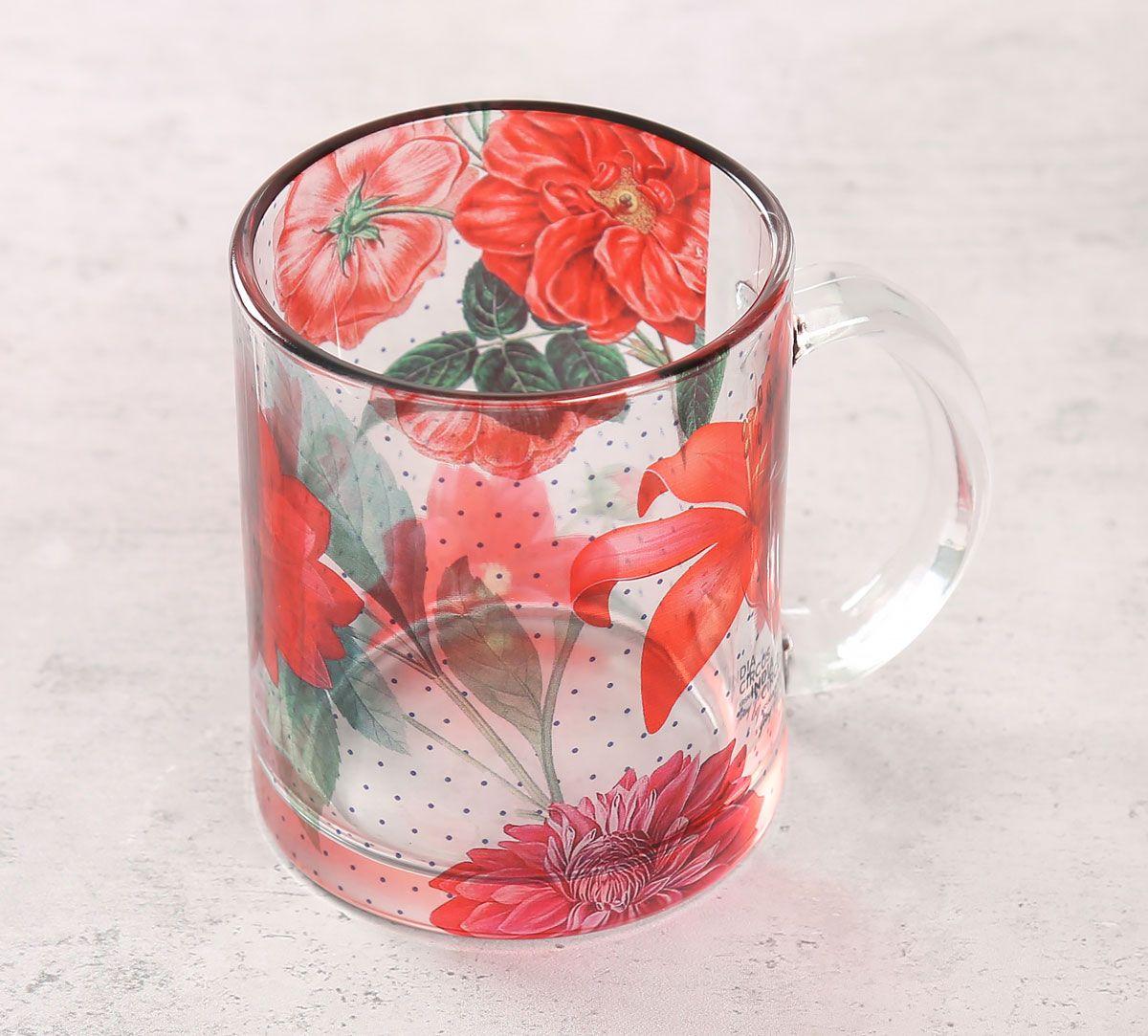 India Circus Red Blooms Glass Mug