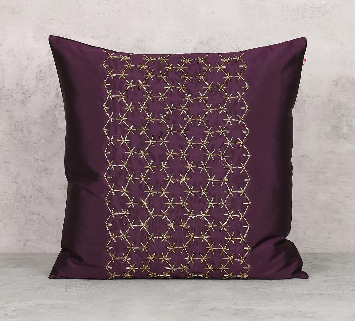 India Circus Rice Bead Purple Cushion Cover