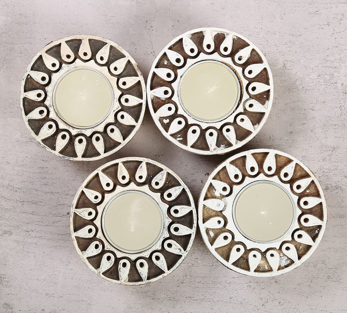 India Circus Round Shaped Wooden Engraved Tea Light Holder Set of 4