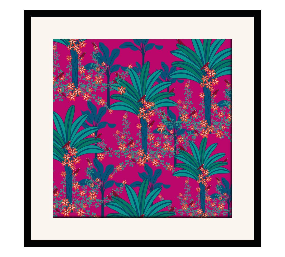 India Circus Royal Palms 16 x 16 and 24 x 24 Framed Wall Art