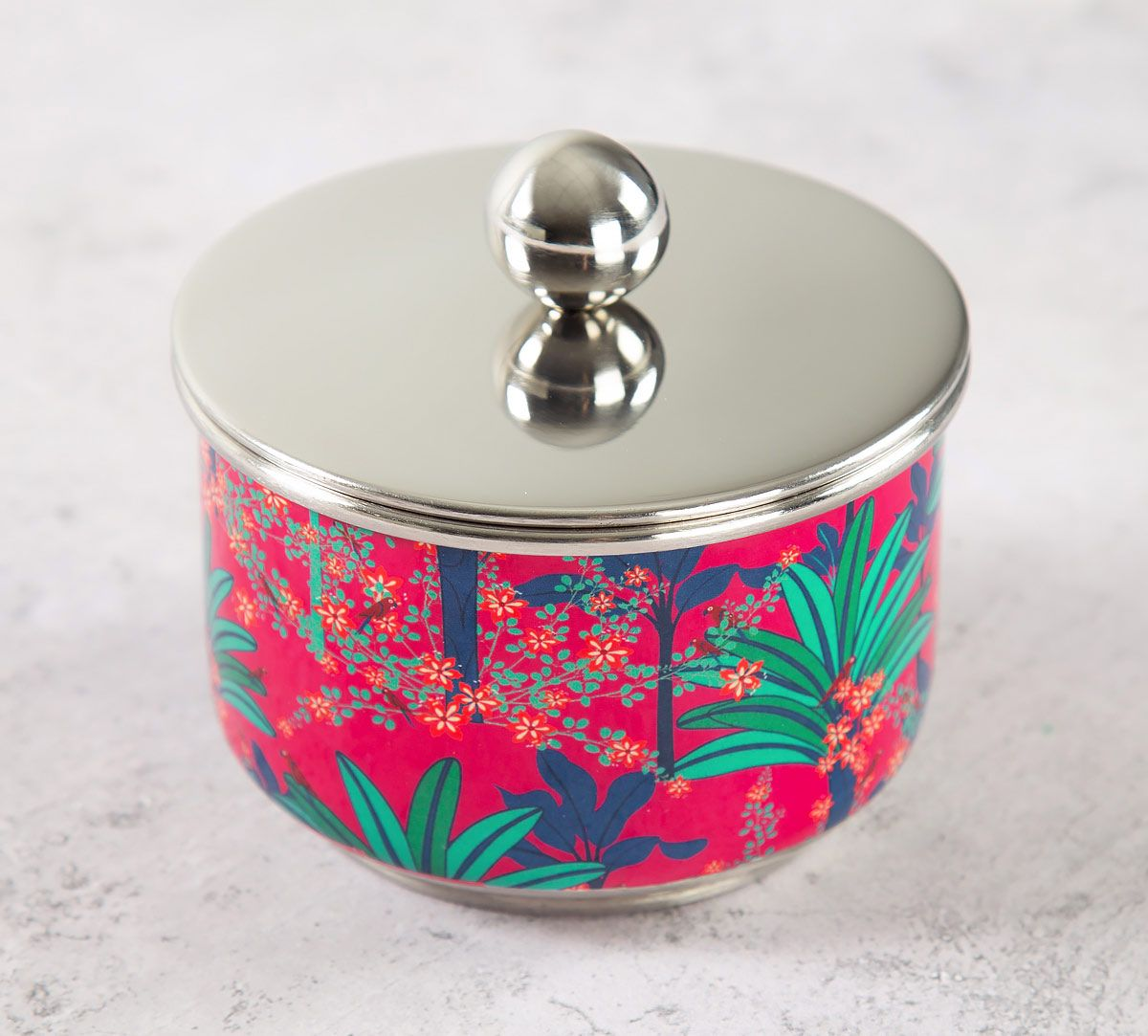 India Circus Royal Palms Steel Bowl with Lid