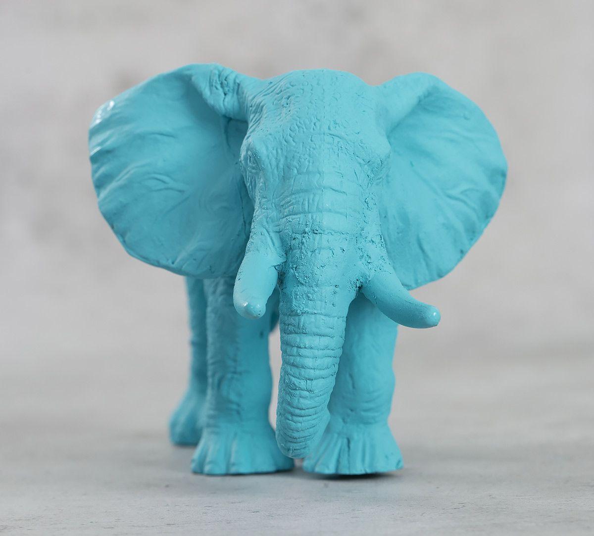 India Circus Sky Blue Baby Elephant Figurine