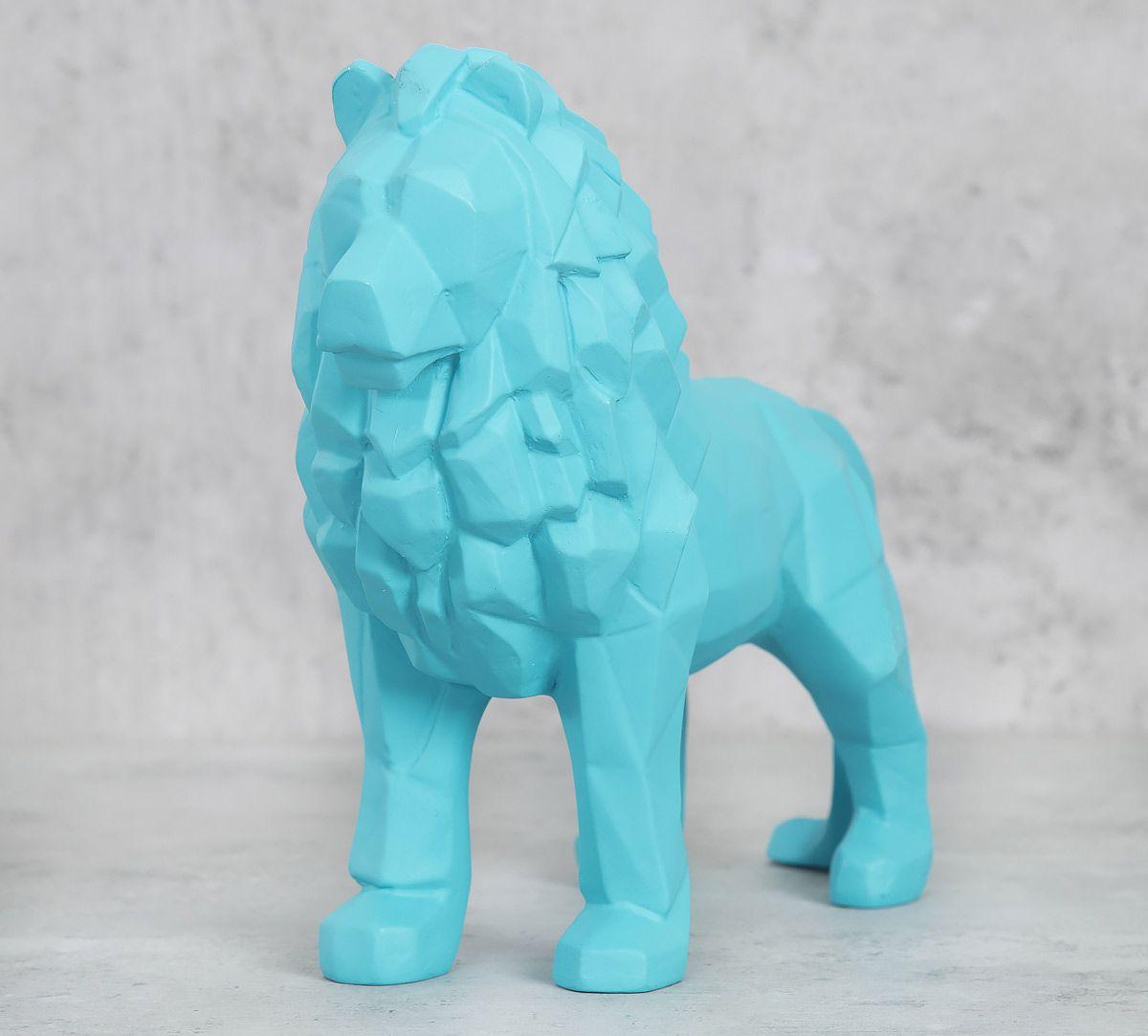 India Circus Sky Blue King of Beasts Figurine