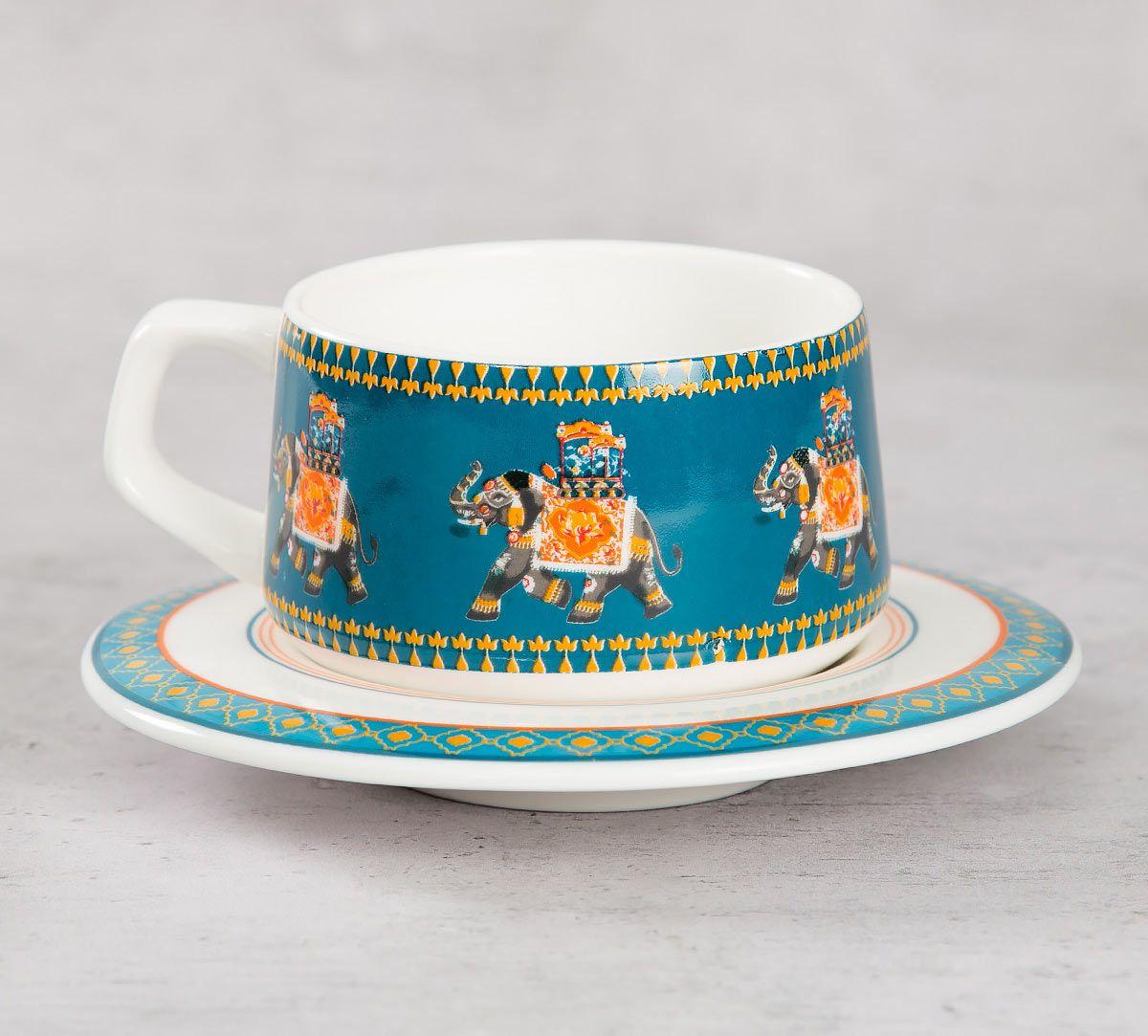 India Circus Swirling Safari Cup and Saucer (Set of 6)