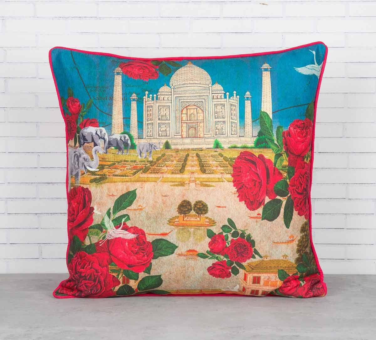 India Circus Taj Ka Raj Blended Taf Silk Cushion Cover
