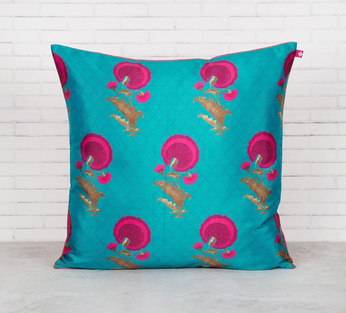 India Circus Teal Flower Regalia Blended Taf Silk Cushion Cover
