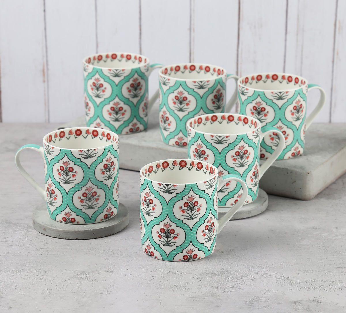 India Circus Teal Lattice Motifs Coffee Mugs Set of 6
