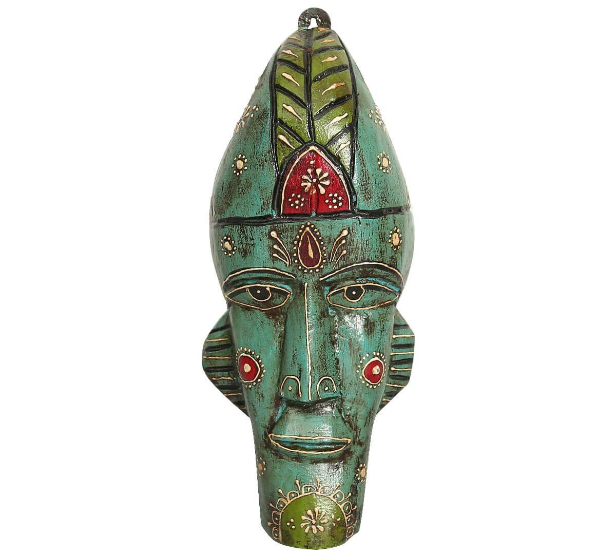 India Circus Teal Leprechaun Decorative Wooden Mask