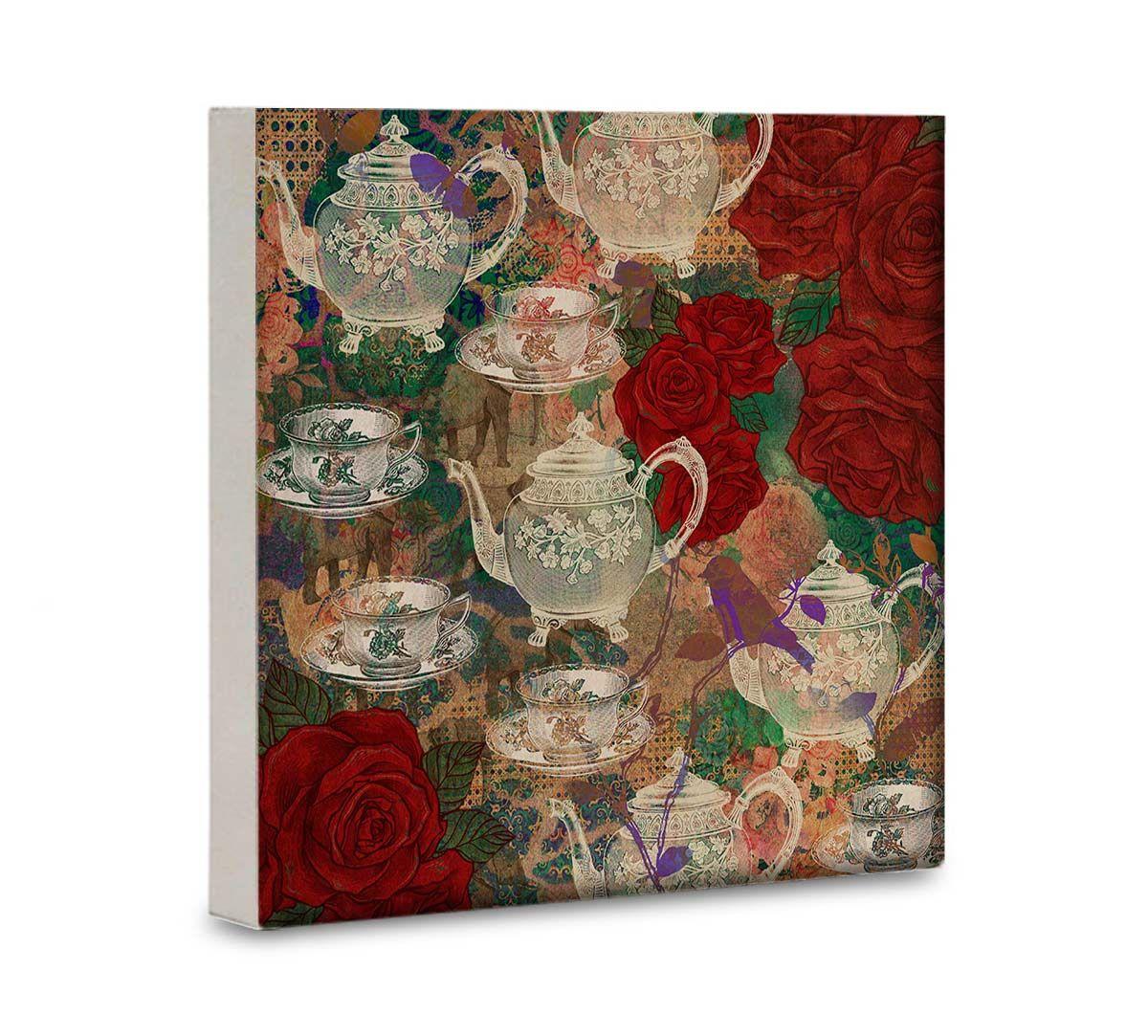 India Circus Teapot Jungle 16x16 and 24x24 Canvas Wall Art