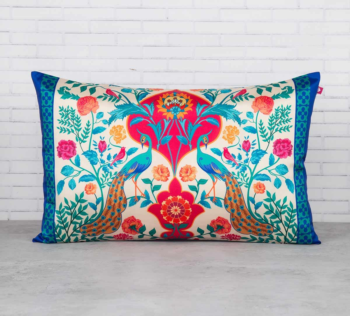 India Circus The Bright Birds and Floral Burst Blended Taf Silk Cushion Cover