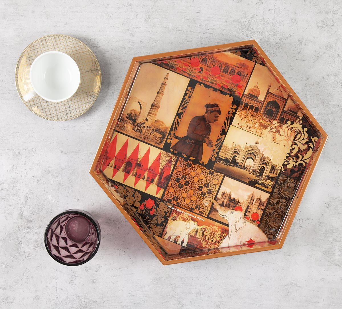 India Circus The Mughal Era Hexagon Serving Tray