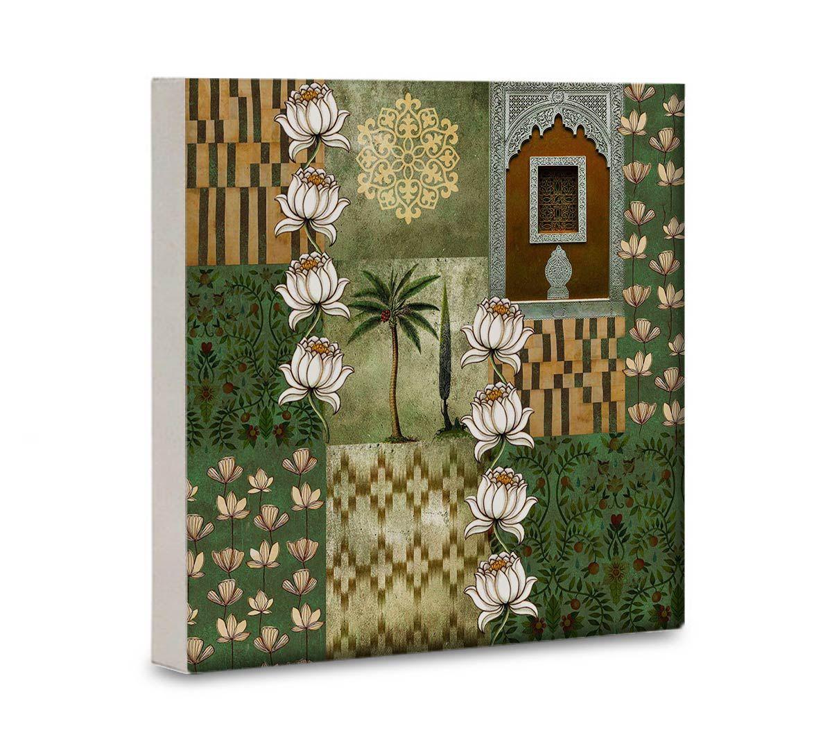 India Circus Tiled Lotus Extravaganza 16x16 and 24x24 Canvas Wall Art