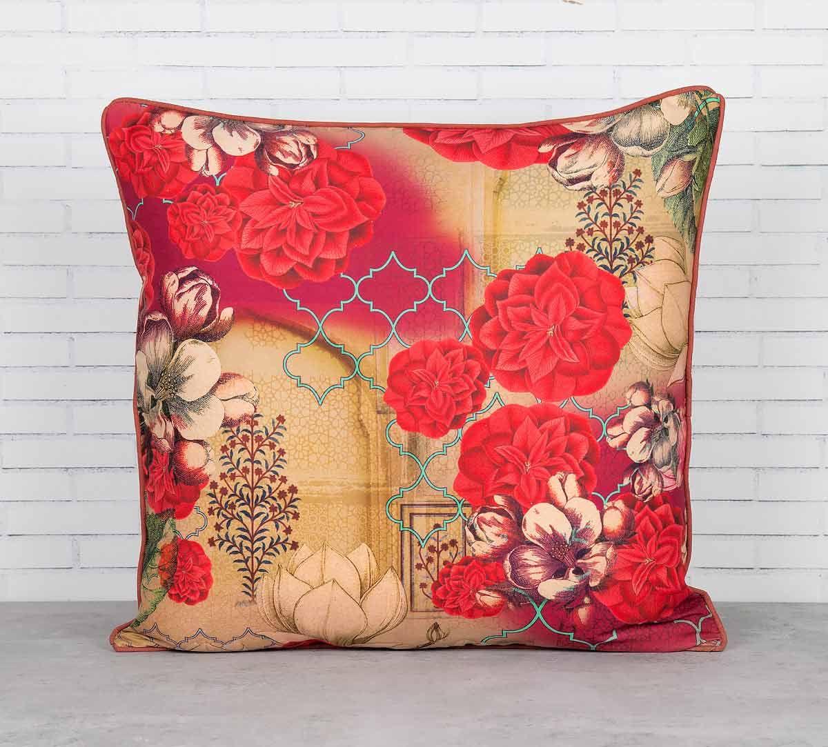 India Circus Trapped Dahlia Blended Taf Silk Cushion Cover