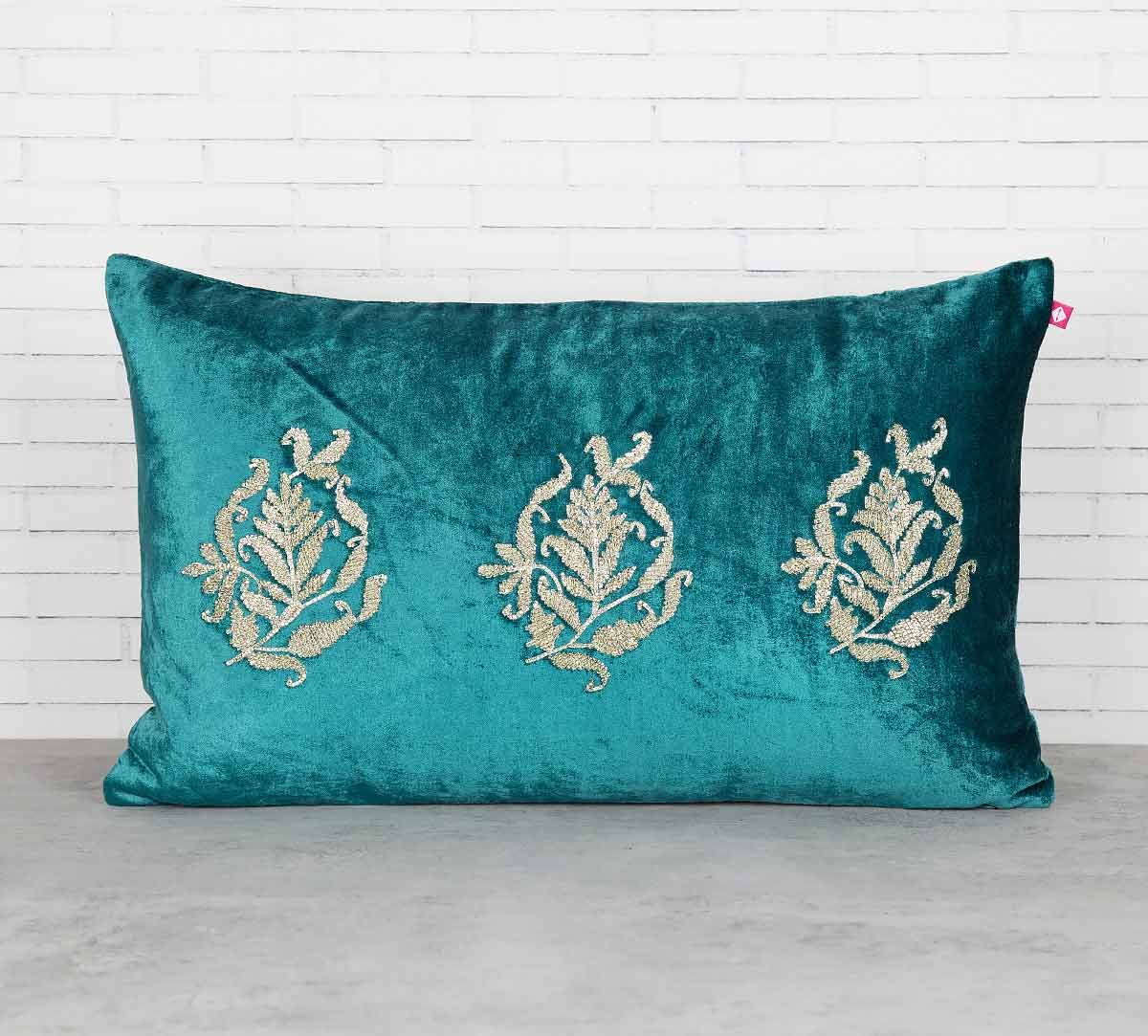 India Circus Trickles of Flower Peacock Green Embroidered Velvet Cushion Cover