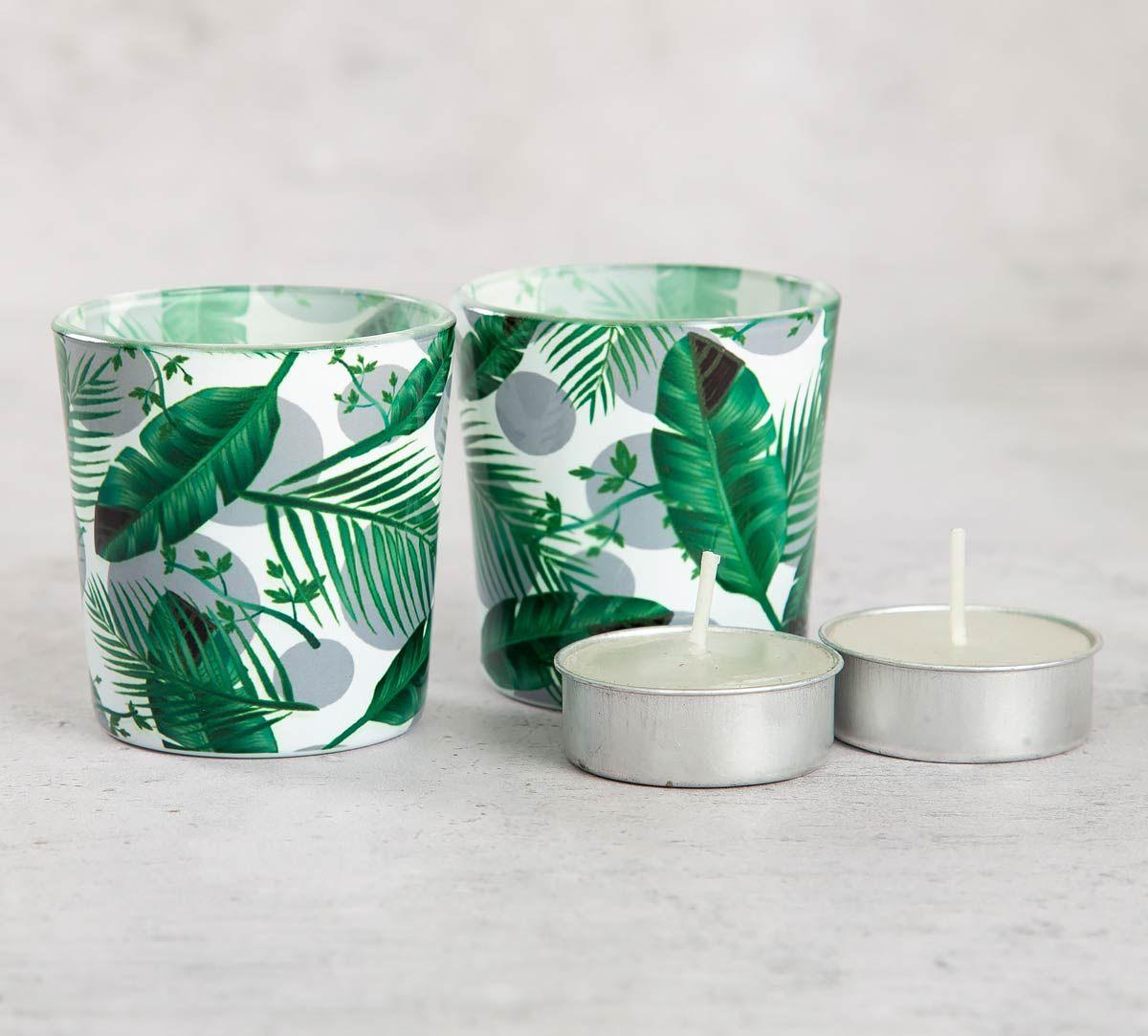 India Circus Tropical Leaves Tea Light Holder