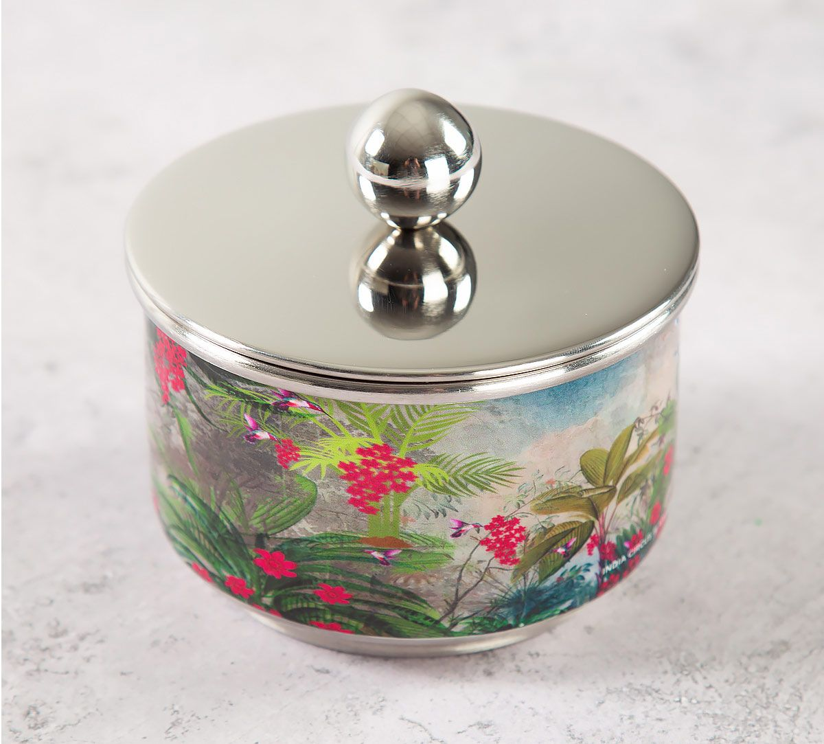 India Circus Tropical View Steel Bowl with Lid