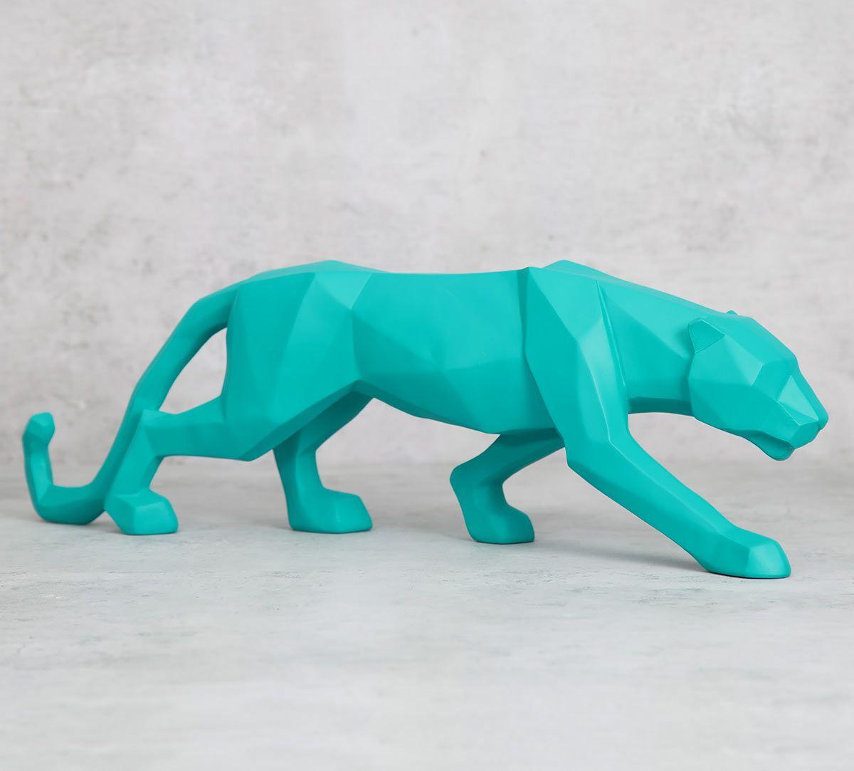 India Circus Turquoise Bobcat Figurine