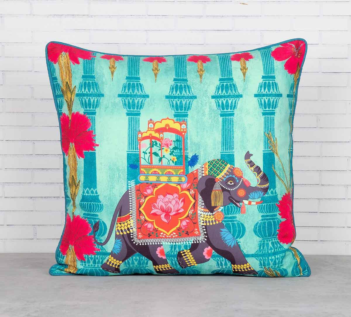India Circus Tusker Chariot Blended Taf Silk Cushion Cover