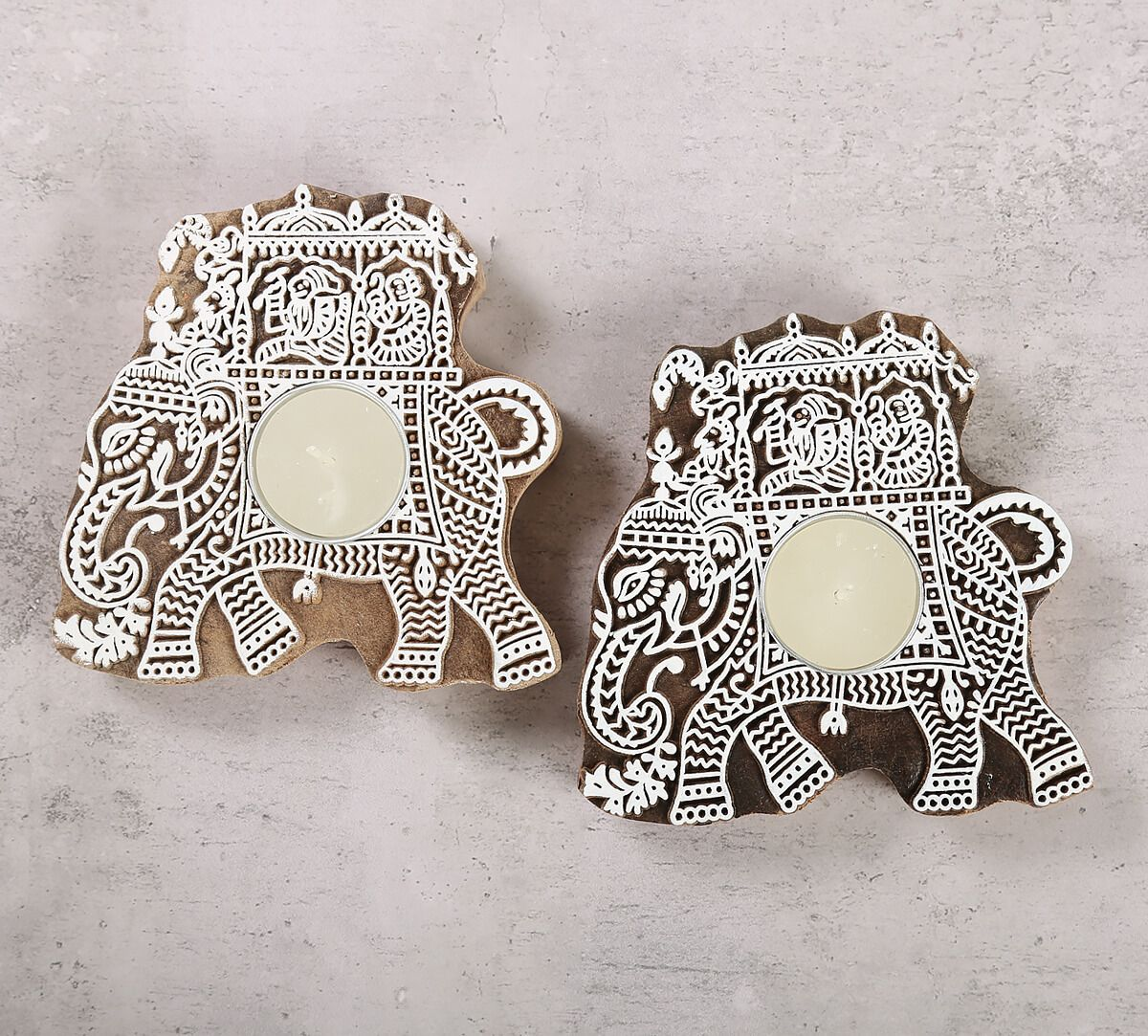India Circus Tusker Chariot Wooden Engraved Tea Light Holder Set of 2