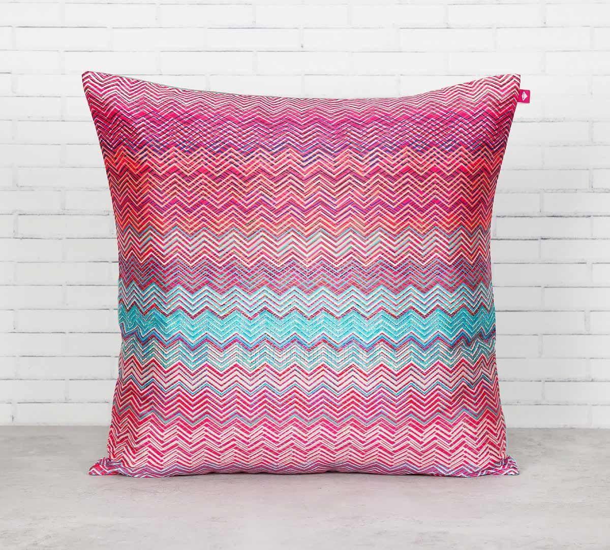 India Circus Waves of Chevron Blended Taf Silk Cushion Cover