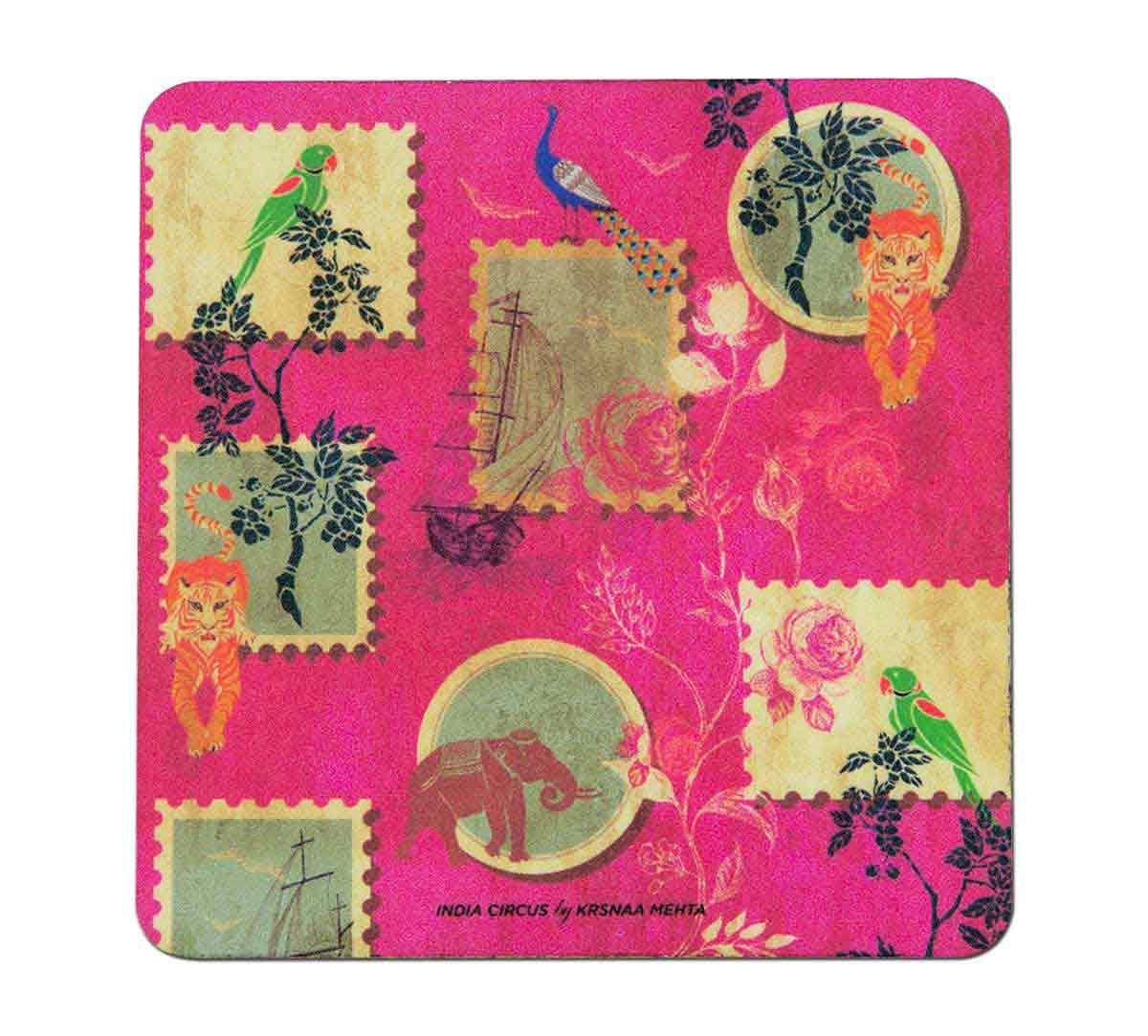 India Circus Wildlife Stamps Table Coaster Set of 6