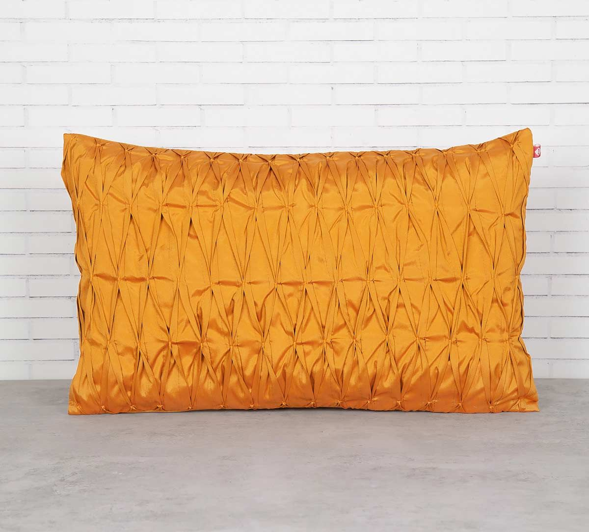 India Circus Yellow Pucker Rectangle Satin Blend Cushion Cover