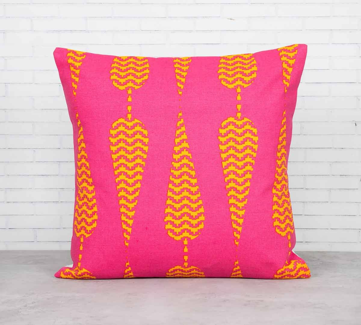 India Circus Conifer Spades Pink Cotton Cushion Cover