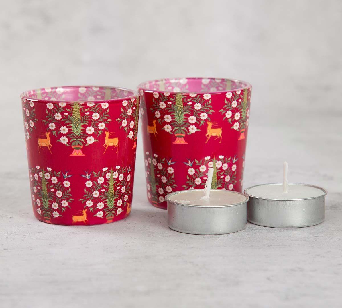India Cirucs Deer and Conifer Garden Tea Light Holder Set of 2