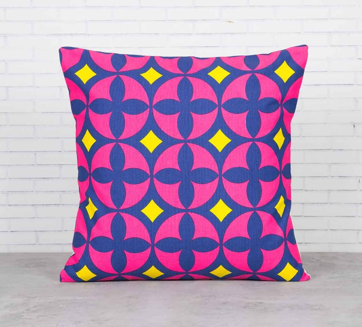 India Circus Elixir of Geometry Magenta Cotton Cushion Cover