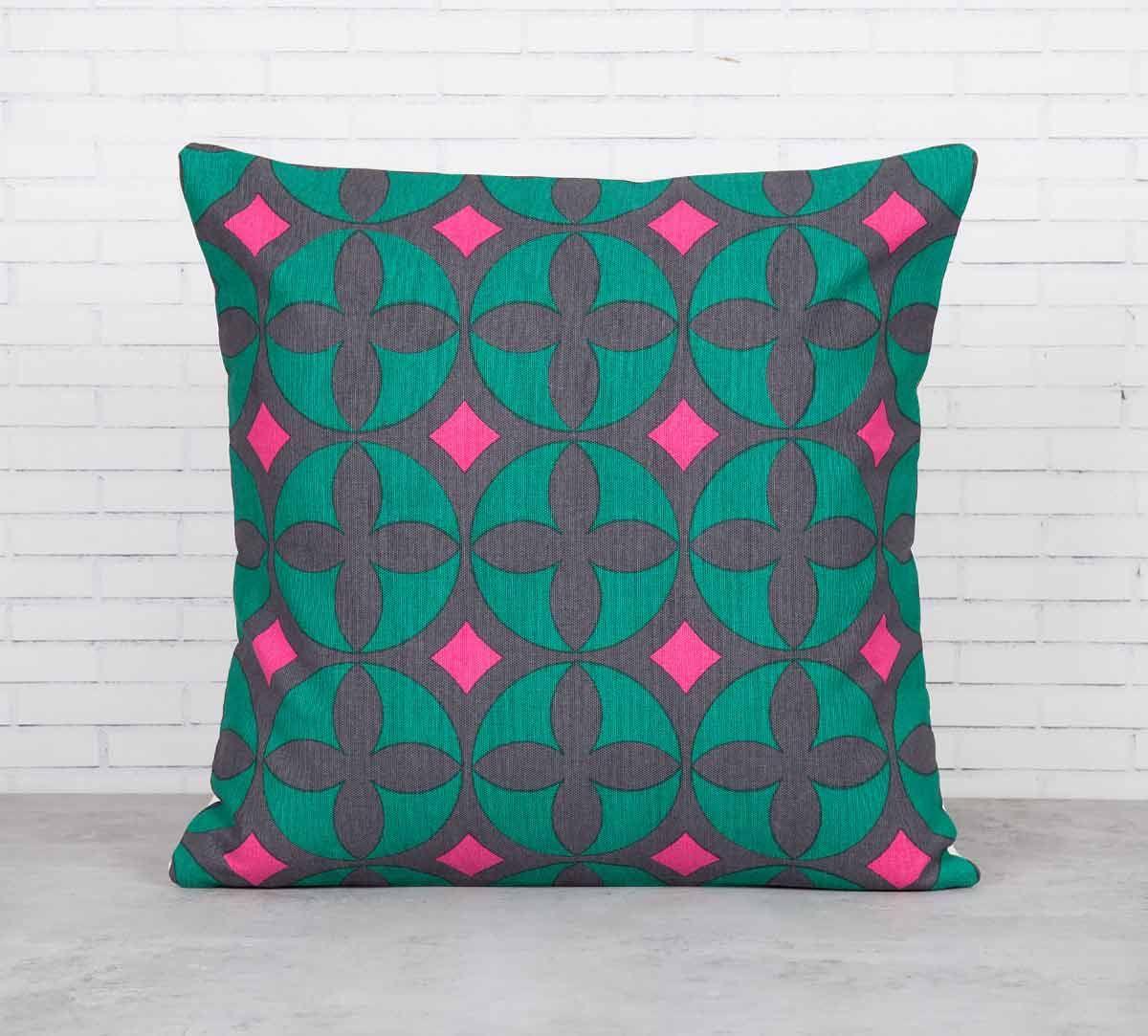 India Circus Elixir of Geometry Viridescent Cotton Cushion Cover