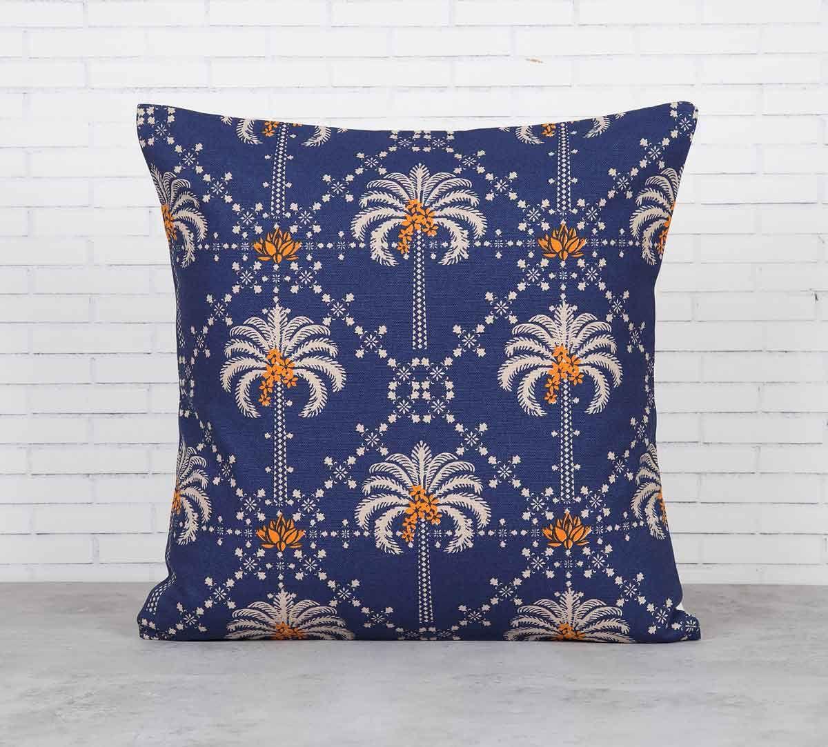 India Circus Poly Palmeira Blue Cotton Cushion Cover