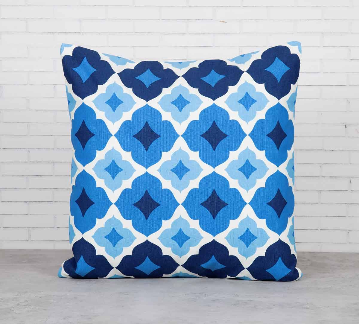India Circus Ultramarine Tracery Sapphire Cotton Cushion Cover