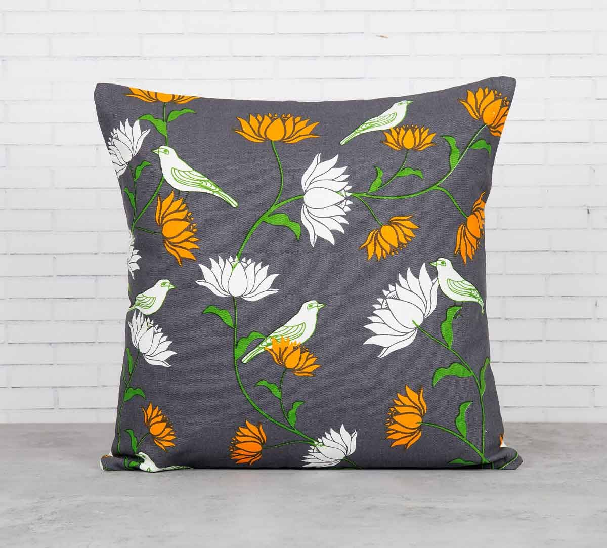 India Circus Yield of Divinity Grey Cotton Cushion Cover