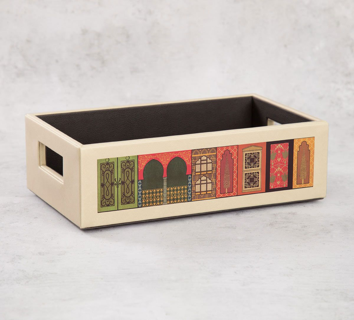 India Circus Mughal Doors Reiteration Leather Tray