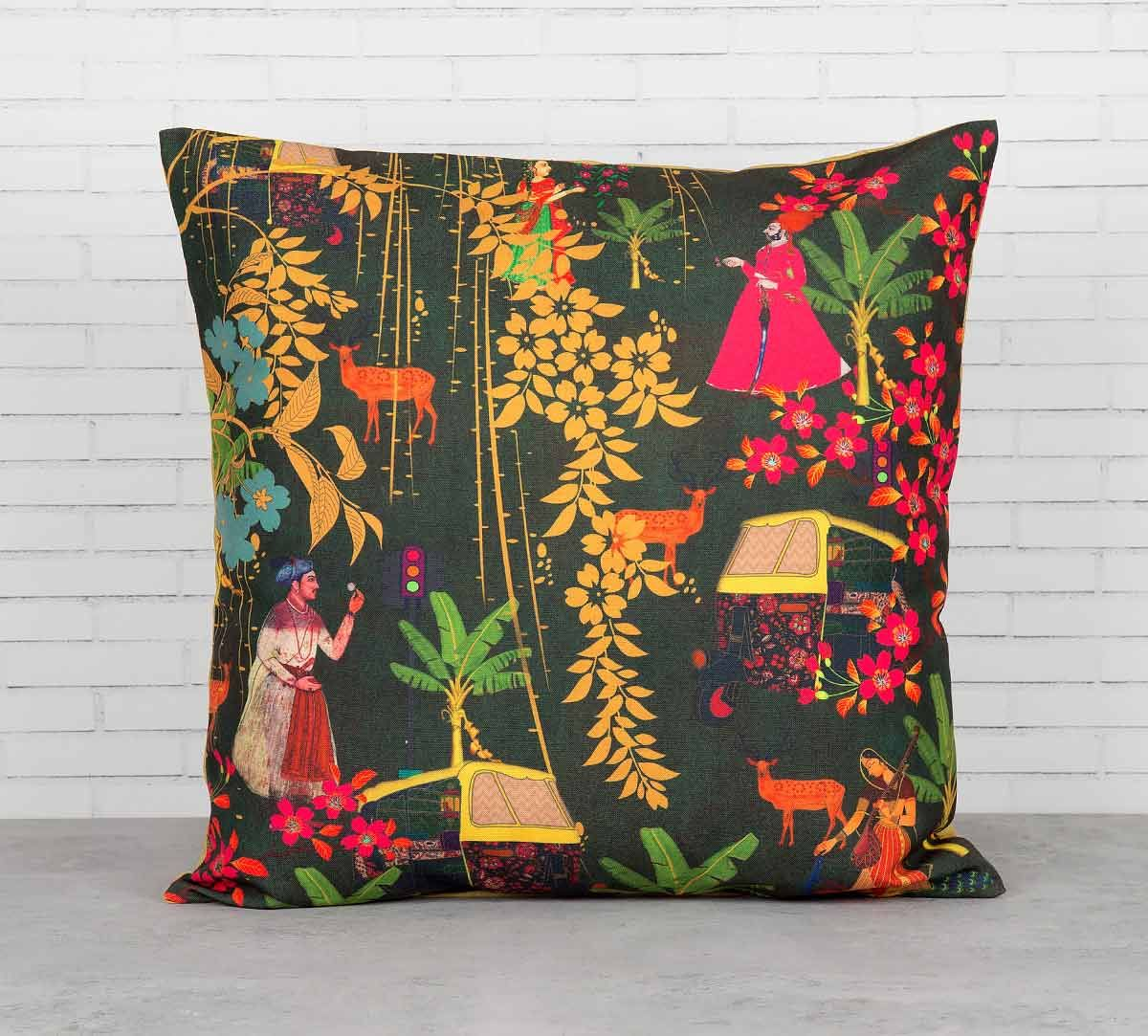 India Circus Mughal Traffic Cushion Cover