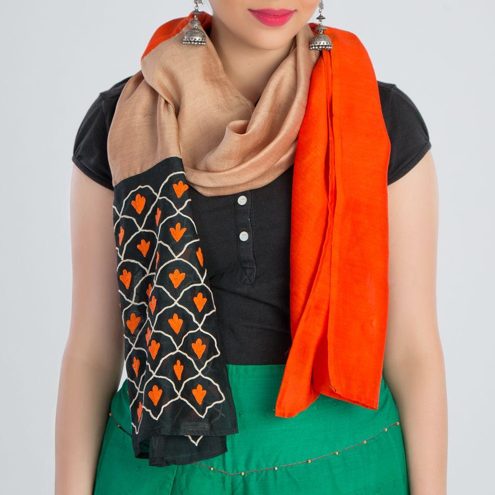 Orange Beige Embroidered Silk Stole