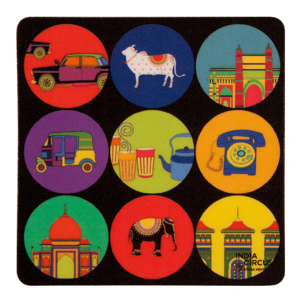 Polka Masti Rubber Coasters - (Set of 6)
