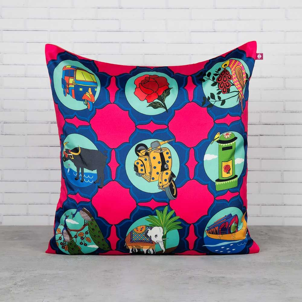 The Indian Influx Blended Taf Silk Cushion Cover