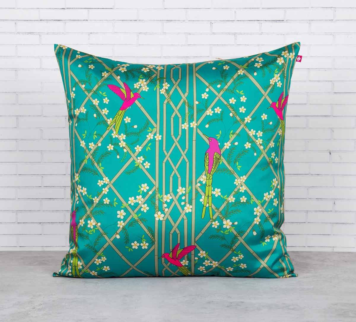 India Circus The Rose finchs Window View Blended Taf Silk Cushion Cover