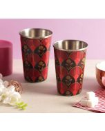 India Circus Fans of Blossom Steel Tumbler Set of 2