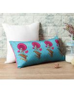 "India Circus Teal Flower Regalia 16"" x 8"" Blended Taf Silk Cushion Cover"