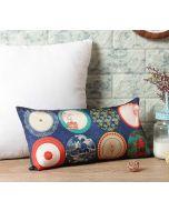 "India Circus Platter Portrayal 16"" x 8"" Blended Taf Silk Cushion Cover"