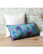 """India Circus Aqua Jungle Safari 16"""" x 8"""" Blended Taf Silk Cushion Cover"""