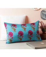 "India Circus Teal Flower Regalia 20"" x 12"" Blended Taf Silk Cushion Cover"