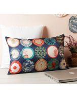 "India Circus Platter Portrayal 20"" x 12"" Blended Taf Silk Cushion Cover"