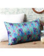 """India Circus Aqua Jungle Safari 20"""" x 12"""" Blended Taf Silk Cushion Cover"""