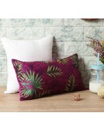 "India Circus Sangria Tropical Fall 16"" x 8"" Blended Velvet Cushion Cover"