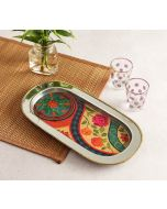 India Circus Floral Embroidery Steel Serving Tray