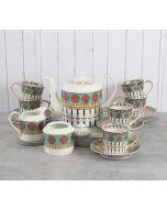 India Circus Floral Reed Tea Cup & Saucer Set of 17 pcs