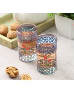 India Circus Flowers and Ferns Small Glass Tumbler (Set of 2)